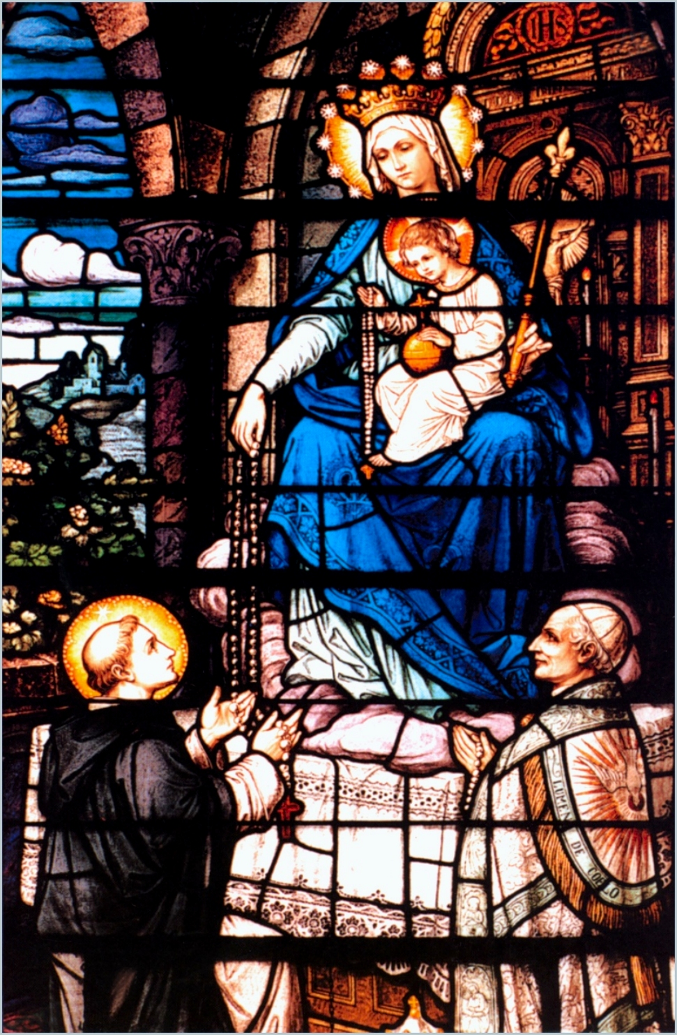 Our lady and the christ childwith st dominic and pope leo xiii