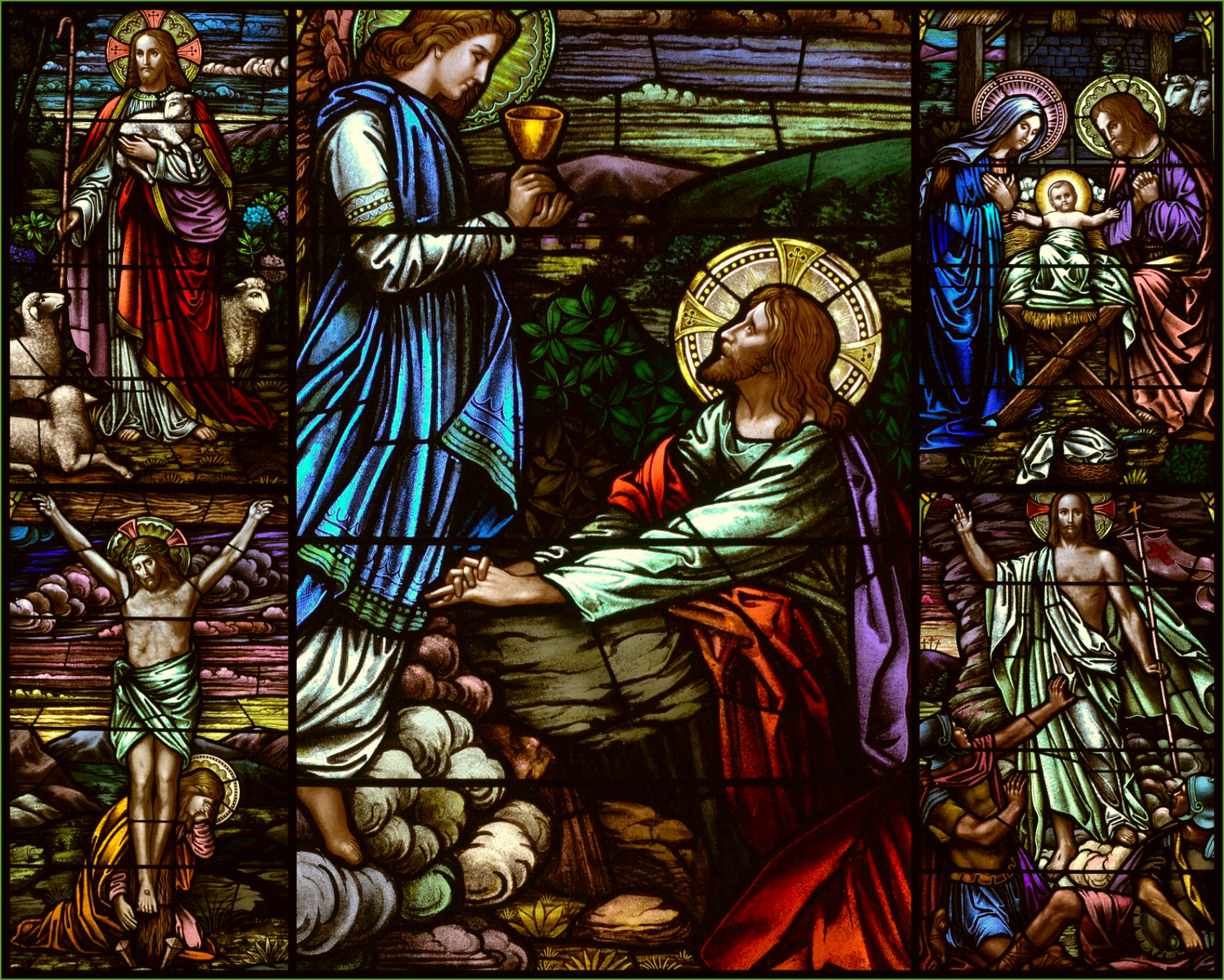 Nativity Scene Stained Glass Agony in the garden by carlo