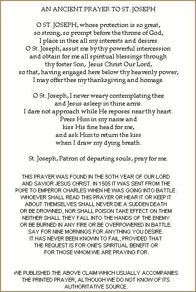 graphic regarding Printable Prayer to St. Joseph named PRINTABLE HOLY CARD