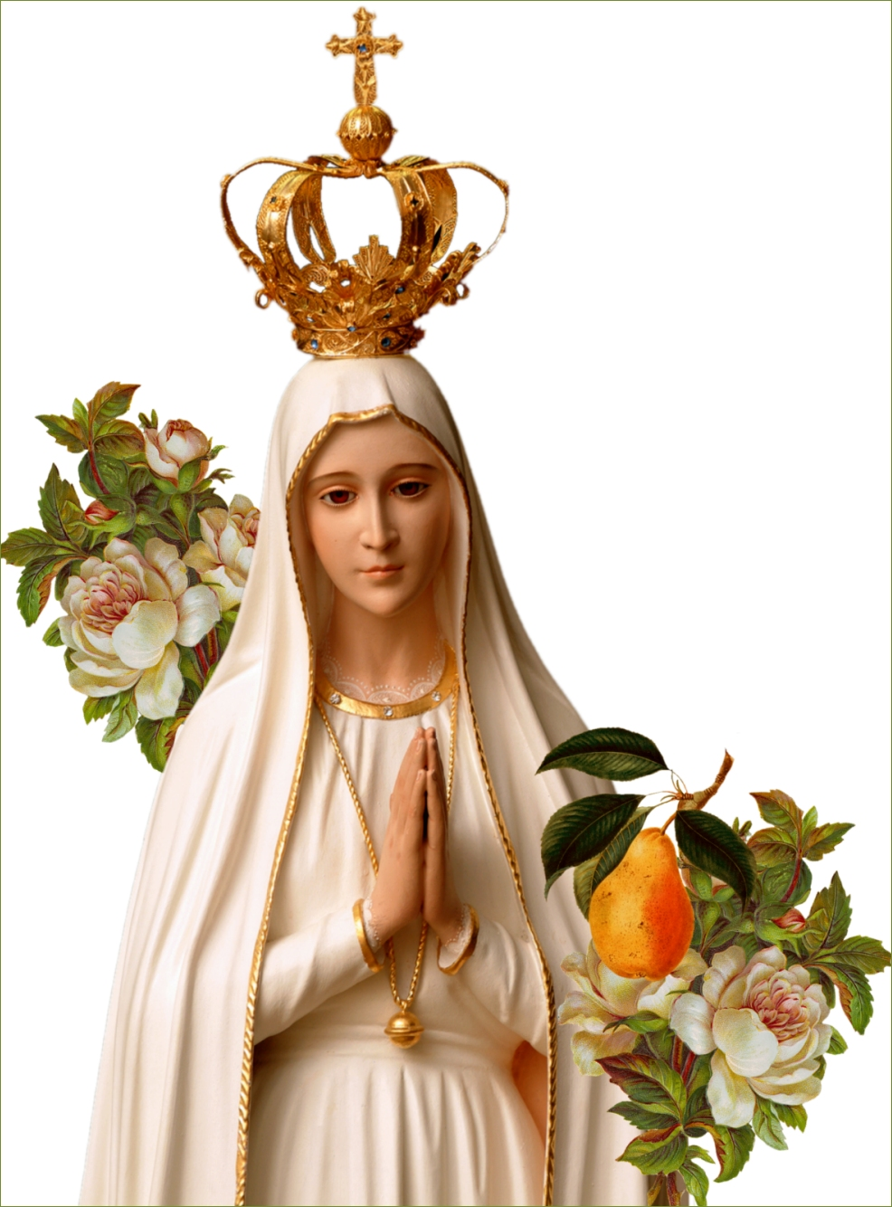 OUR LADY OF FATIMA WITH PEAR AND FLOWERS