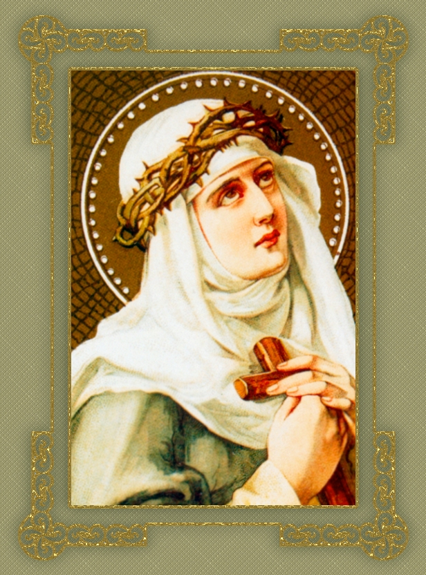 ST. CATHERINE OF SIENA IN FILAGREE FRAME