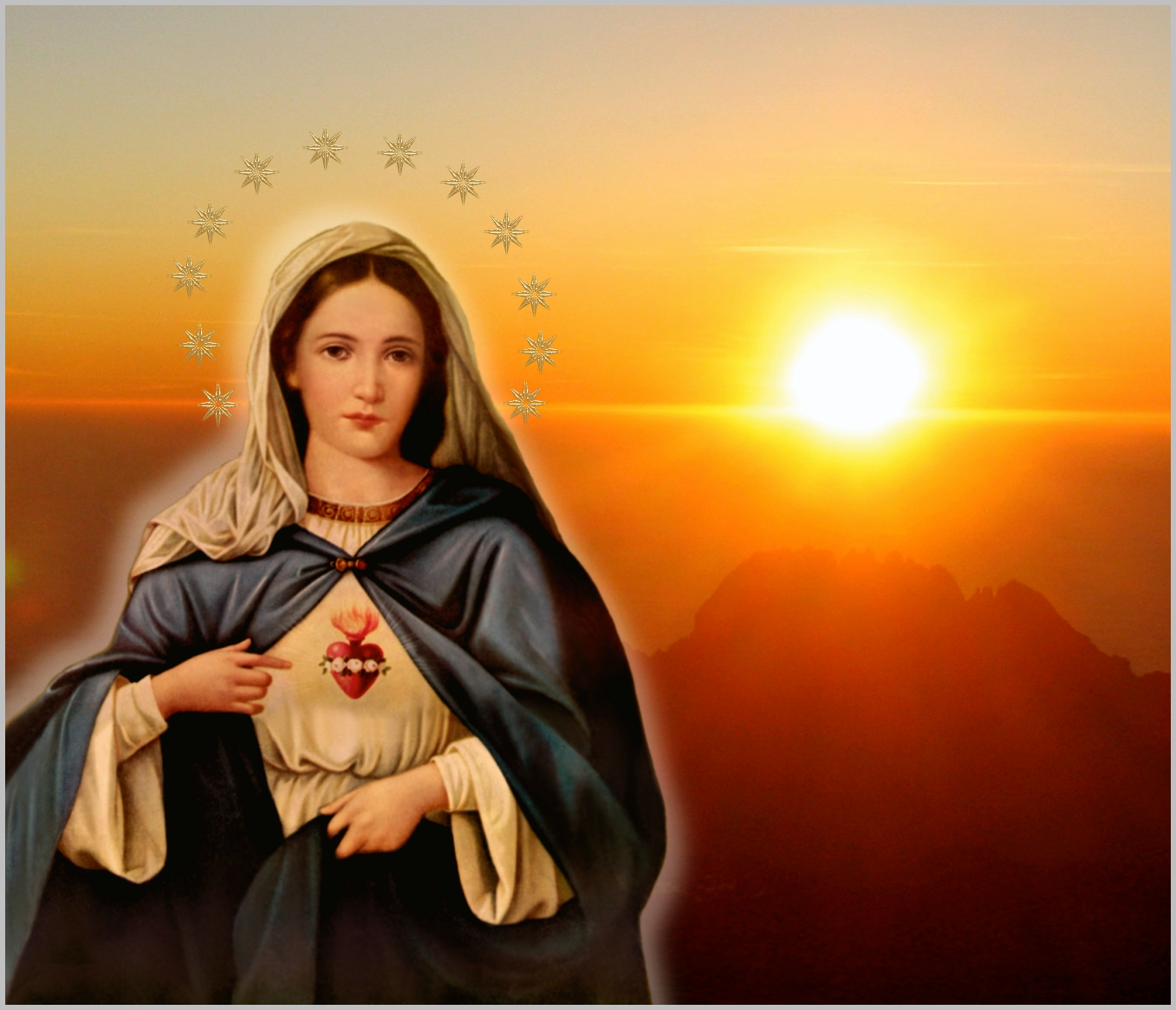 IMMACULATE HEART OF MARY WITH SUNSET BACKGROUND