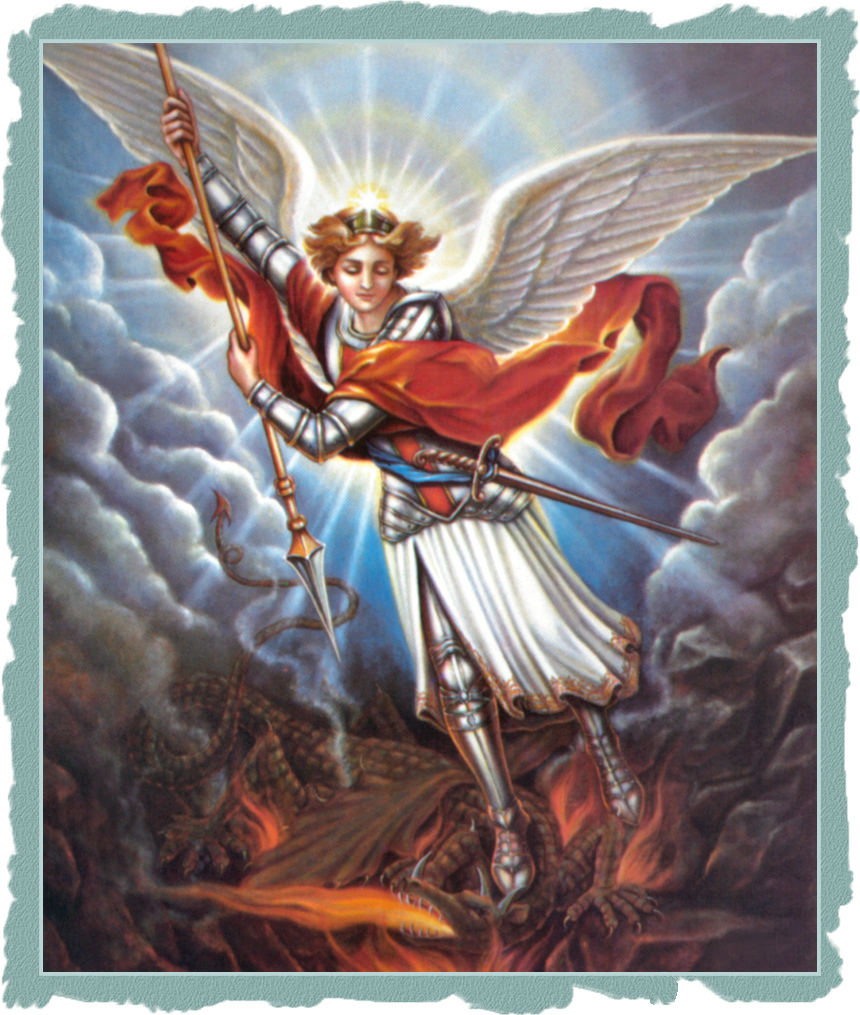 ST. MICHAEL POSTCARD WITH PAPER EDGE